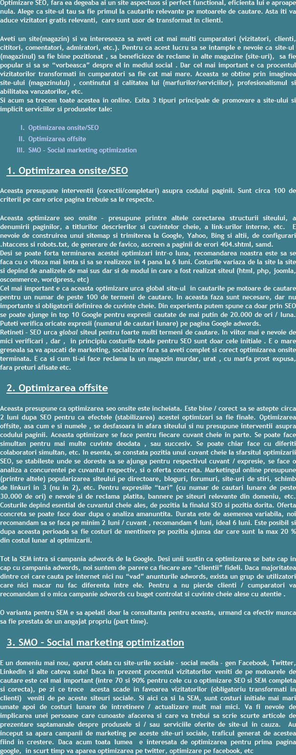 Optimizare onsite offsite SEO Brasov