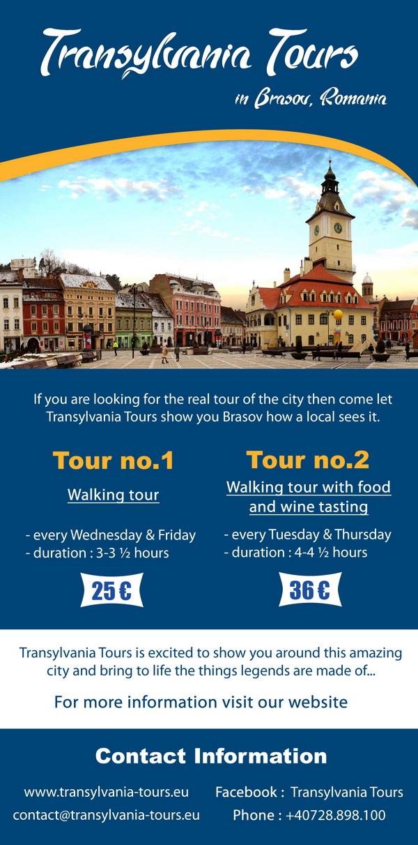 Realizare Flyere pliante Brasov tururi Transylvania Tours