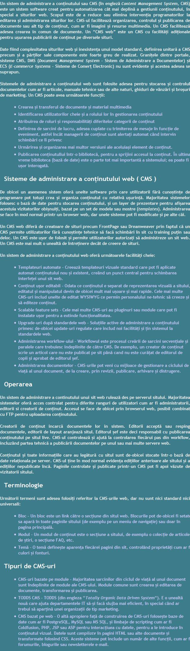 CMS Brasov Realizare Website Content management system