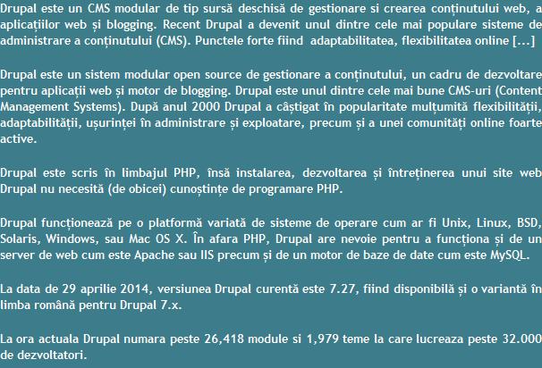 CMS Drupal Brasov - Romania - Promovare Web Online Brasov